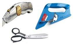 Gereedschap en hulpmiddelen om tapijt te leggen, stanleymes, schaar, tapijtsnijder