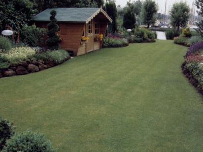 Groen gras gazon, het visitekaartje van uw tuin