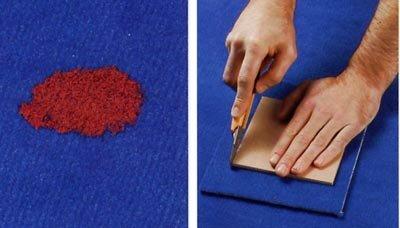 Vlekken verwijderen uit tapijt, de vlek uitsnijden