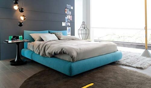 Werken met kleuren in uw interieur, blauw beige slaapkamer