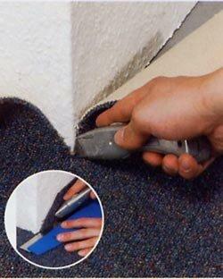 Zelf tapijt leggen, buitenhoeken snijden en afwerken